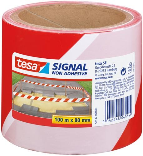 Signaallint Tesa 58137 80mmx100m rood/wit