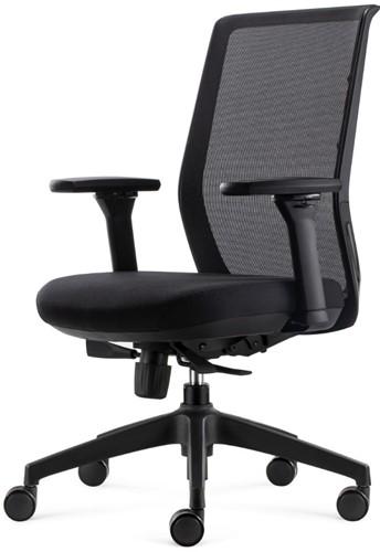 Tica bureaustoel Ergo4 - mesh rugleuning zwart - 4D armleggers - zitting zwart - volgens EN1335