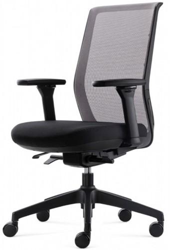 Tica bureaustoel Ergo4 - mesh rugleuning gekleurd - 4D armleggers - zitting zwart