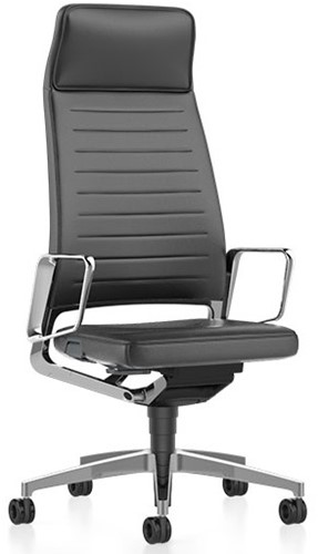 Interstuhl Vintage 32V2 bureaustoel - Leder Ascot - gepolijste delen/ voetkruis - Auto Flow armlegger - lendensteun