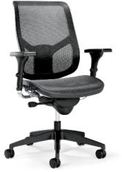 Airspace bureaustoel middelhoog, synchroontechniek met gewichtsregeling, zitting en rugleuning netbespanning