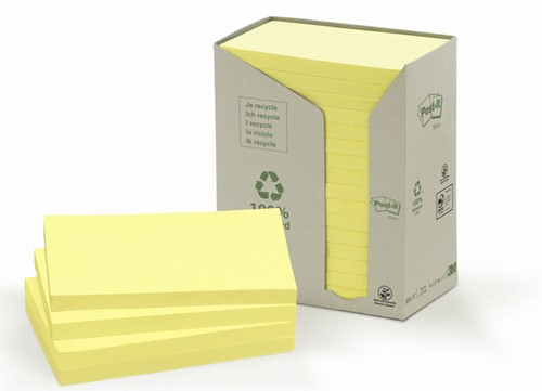 Memoblok 3M Post-it 655 76x127mm recycled geel 16x100 vel