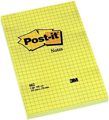 Memoblok 3M Post-it 662 102x152mm ruit geel