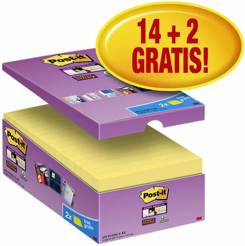 Memoblok 3M Post-it 655 Super Sticky 76x127mm geel 14+2 gratis