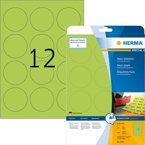 Herma 5155 neon etiketten groen  Ø 60mm rond A4 papier mat 240 stuks