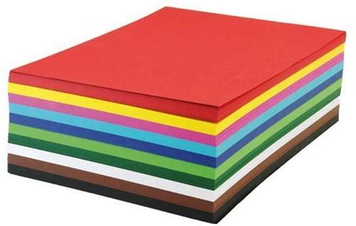 Engels karton/ fotokarton 270gr. / 50x70cm / 10 kleuren assorti / 100 vel