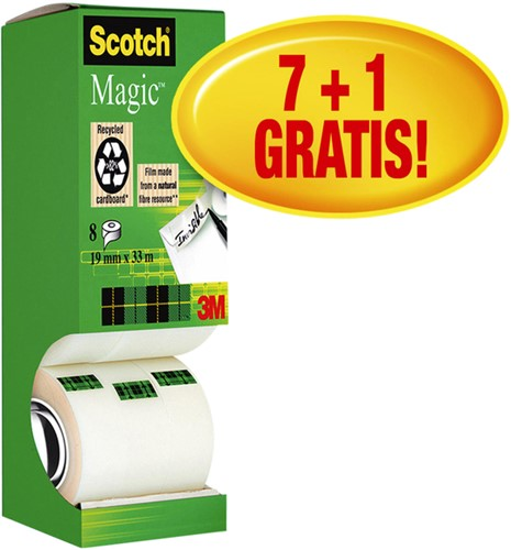Plakband Scotch Magic 810 19mmx33m onzichtbaar mat 7+1 gratis