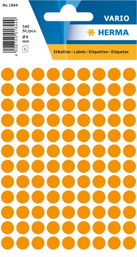 Etiket Herma 1844 rond 8mm fluor oranje 540stuks