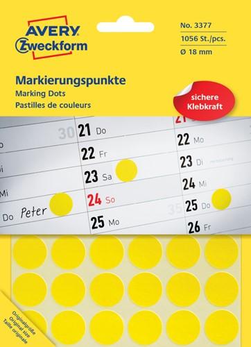 Etiket Avery Zweckform rond 18mm geel
