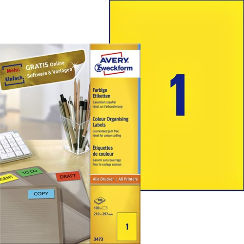 Etiket Avery Zweckform 3473 210x297mm A4 geel 100stuks