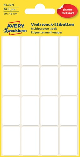 Etiket Avery Zweckform 3074 29x18mm wit 96stuks