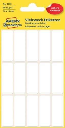Etiket Avery Zweckform 3076 38x14mm wit 90stuks