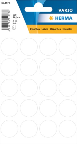 Etiket Herma 1870 rond 19mm wit 100stuks