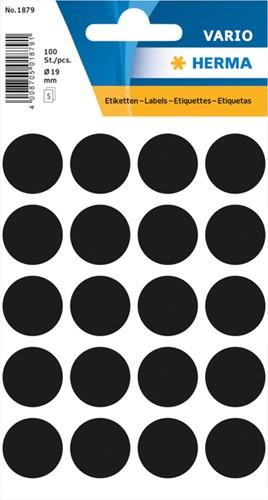 Etiket Herma 1879 rond 19mm zwart 100stuks