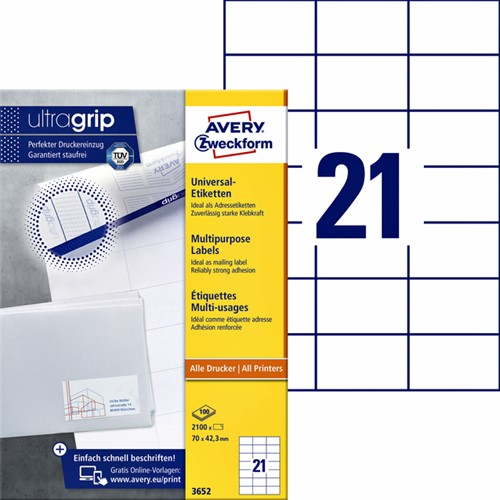 Etiket Avery Zweckform 3652 70x42.3mm wit 2100stuks