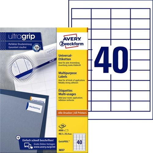Etiket Avery Zweckform 3657 48.5x25.4mm wit 4000stuks