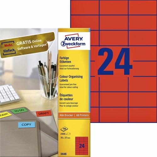 Etiket Avery Zweckform 3448 70x37mm rood 2400stuks