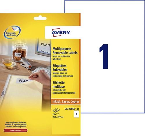 Etiket Avery L4735REV-25 210x297mm A4 afneembaar wit 25stuks