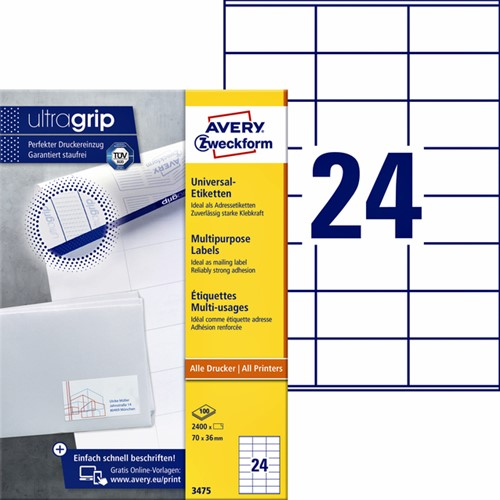 Etiket Avery Zweckform 3475 70x36mm wit 2400stuks