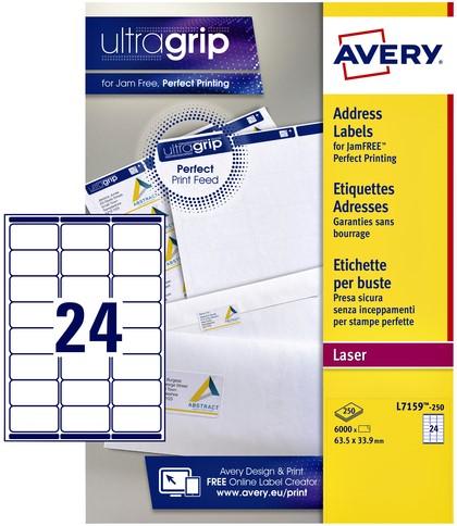 Etiket Avery L7159-250 63.5x33.9mm wit 6000stuks