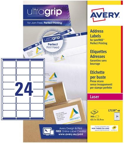 Etiket Avery L7159-40 63.5x33.9mm wit 960stuks
