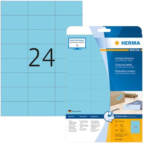Etiket Herma 4468 70x37mm verwijderbaar blauw 480stuks