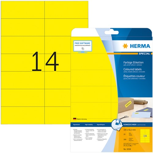 Etiket Herma 5058 105x42.3mm verwijderbaar geel 280stuks