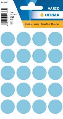 Etiket Herma 1873 rond 19mm blauw 100stuks