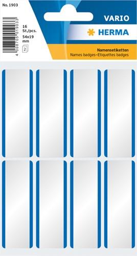 Etiket Herma 1903 54x19mm naametiket wit blauw zijde 16stuks