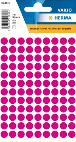 Etiket Herma 1836 rond 8mm roze 540stuks