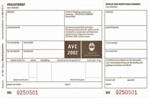 Vrachtbrief Budget BVA 1001 19x12cm 3voud 100stuks blanco