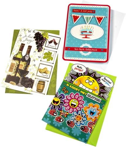Wenskaart Paperclip navulset verjaardag set à 12 kaarten