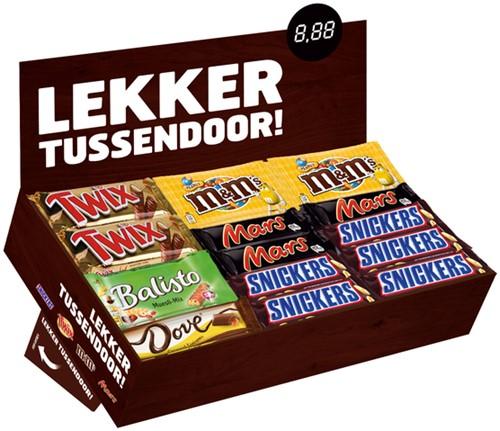 Candy box met Mars Snickers Twix M&M Balisto Dove