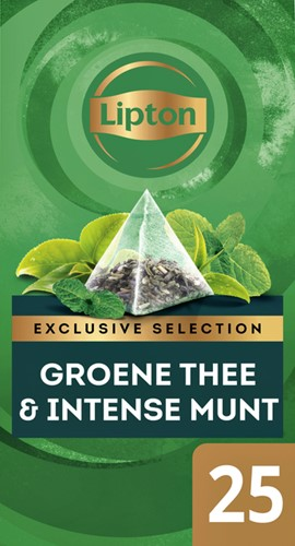 Thee Lipton Exclusive Groene thee Munt 25 piramidezakjes