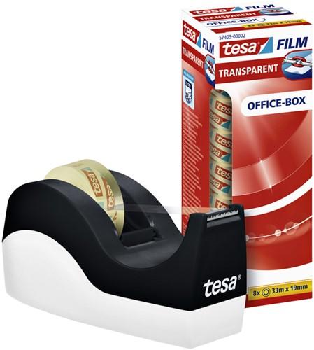 Plakbandhouder Tesa Orca zwart/wit met 8rol tape 19mmx33m