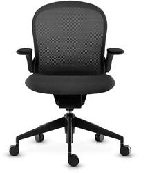 ASIS Follow vergader/bezoekersstoel armleggers HI stoffering zwart kunststof delen zwart