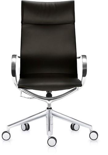 ASIS Mercury bureaustoel hoge rug - frame alu gepolijsd - stoffering leder zwart
