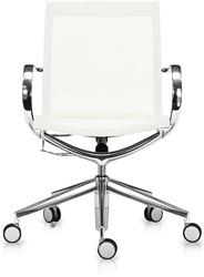 ASIS Mercury bezoekers/werk stoel lage rug - frame alu gepolijsd - 2Dmesh wit