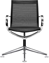 ASIS Mercury bezoekersstoel lage rug - 4 teens frame alu gepolijsd - 3Dmesh zwart