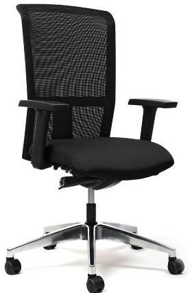 Seven bureaustoel netweave: zitdiepteverstelling synchroontechniek stof Lucia (zwart) verstelbare armleggers voetkruis gepolijst