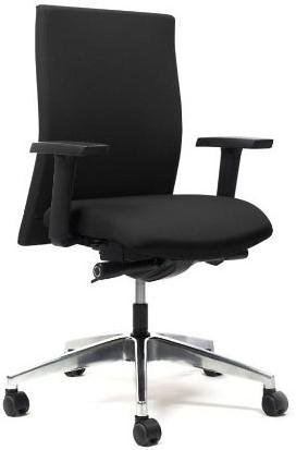 Seven bureaustoel: zitdiepteverstelling synchroontechniek stof Lucia (zwart) verstelbare armleggers voetkruis gepolijst rugleuning rondom gestoffeerd