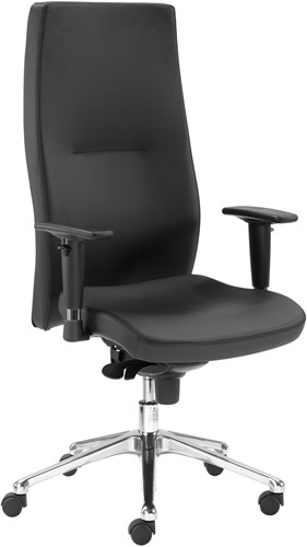 Directie fauteuil/stoel in zwart kunstleder chroom voetkruis verstelbare armleggers