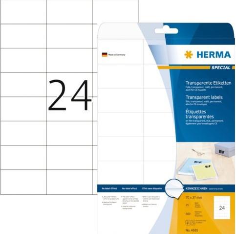 Etiket Herma 4685 70x37mm transparant 600stuks