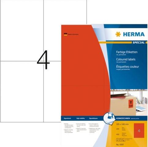 Etiket Herma 4397 105x148mm A6 rood 400stuks
