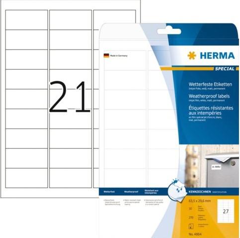 Etiket Herma 4864 63.5x29.6mm polyester wit 270stuks