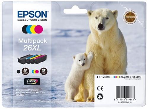 Inktcartridge Epson 26XL T2636 zwart + 3 kleuren HC