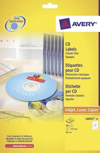 Etiket Avery L6043-25 CD wit 50stuks