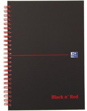 Notitieboek Oxford Black n' Red A5 70v ruit 5mm