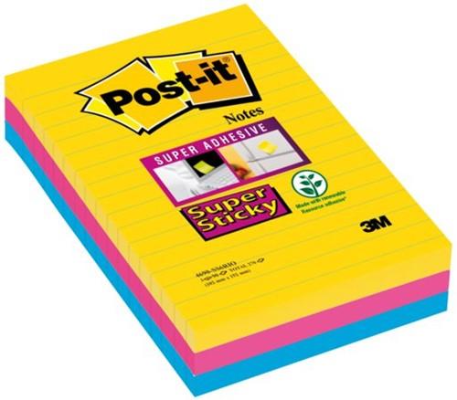 Memoblok 3M Post-it 4690 Super Sticky 101x152mm lijn Rio