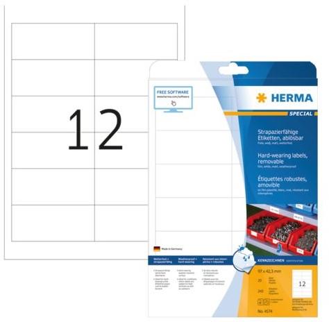 Etiket Herma 4574 97X42.3mm folie 240st wit